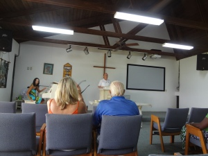 Sunday morning worship at Treasure Cay Community Church in Abaco, Bahamas